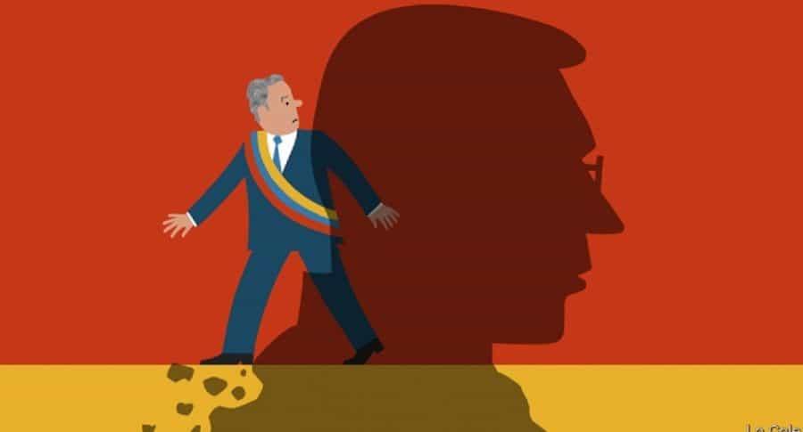 Ilustración de Iván Duque y Álvaro Uribe