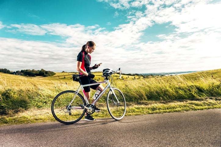 Uso de aplicaciones para montar en bicicleta