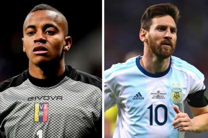 Wuilker Faríñez y Lionel Messi