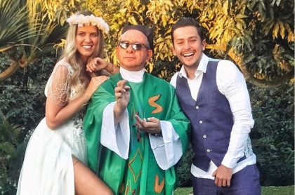 Sebastián Vega, actor, con su esposa, Valentina Ochoa.