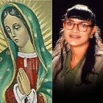 Santiago Alarcón y Ana María Orozco, actores, y la Virgen de Guadalupe.