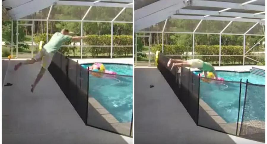 Hombre salva a su hijo de ahogarse.