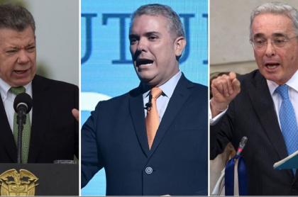 Juan Manuel Santos, Iván Duque y Álvaro Uribe. Imágenes: Getty y AFP