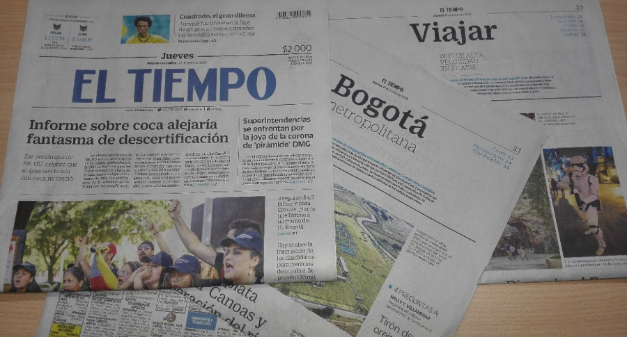 Páginas impresas de El Tiempo