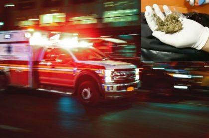 Ambulancia llevaba marihuana.