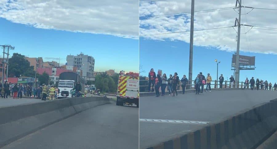 Accidente de ciclista y camión en calle 127. Imágenes Twitter. Blu Radio.