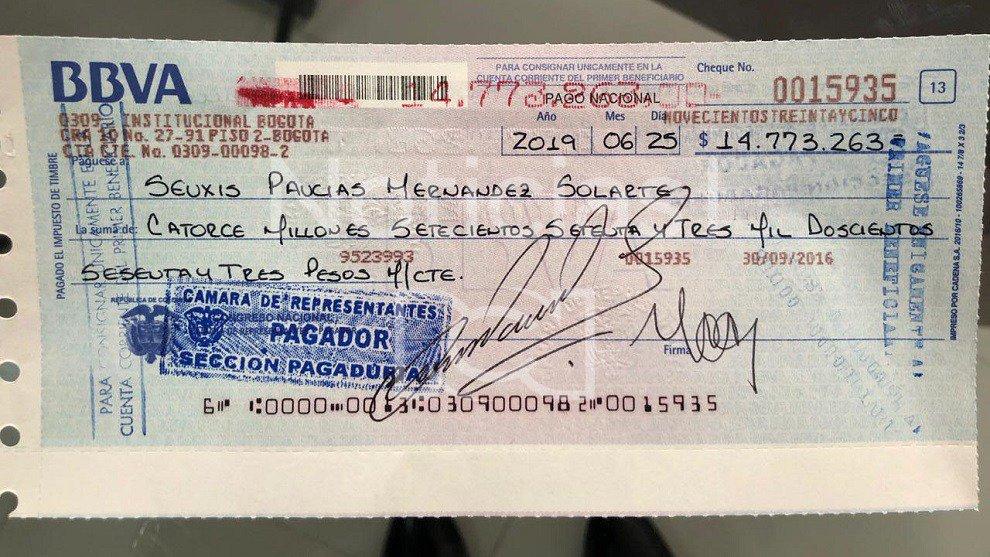 Cheque salario 'Santrich'