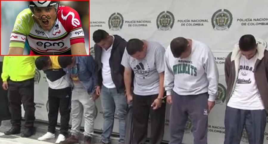 'Los Pablitos' y Óscar Sevilla. Imágenes: AFP y Captura de video Policía.