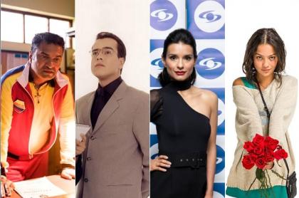 La presentadora Andrea Serna y los actores Santiago Alarcón, Diego Vásquez, Jorge Enrique Abello, Paola Rey y Natalia Reyes.