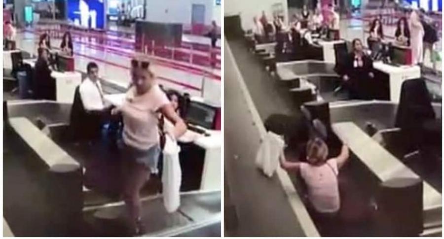 Mujer se cae en aeropuerto.