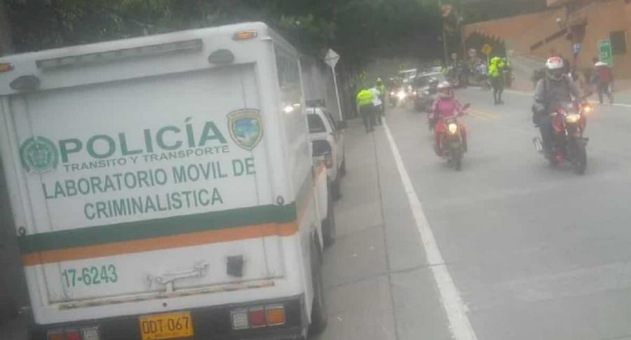 Accidente entre motociclistas en vía La Calera. Imagen: Twitter-@BogotaTransito