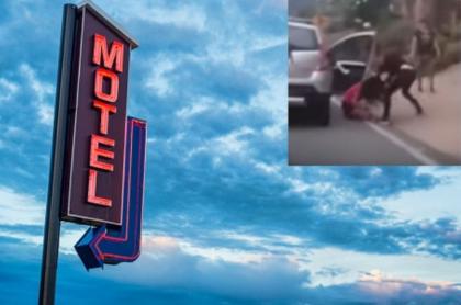 Mujeres pelean frente a motel.
