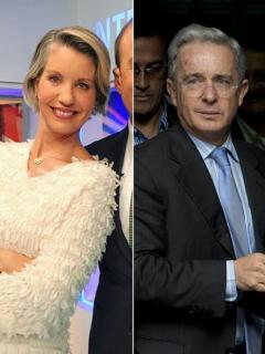 Andrés Felipe Arias, exministro de Agricultura; Claudia Gurisatti, periodista; y Álvaro Uribe, expresidente y senador.