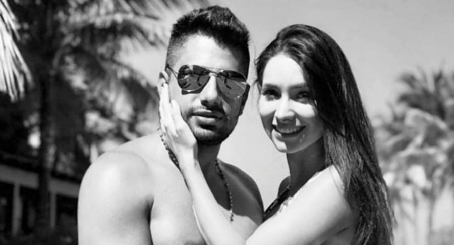El cantante Jean Piero y su esposa fallecida.