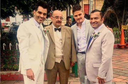 Tiberio Cruz, Alvaro Bayona, Roger Moreno y Diego Vásquez, actores.