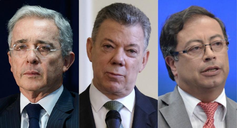 Álvaro Uribe, Juan Manuel Santos y Gustavo Petro