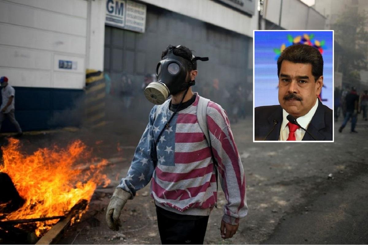 Manifestante y Nicolás Maduro