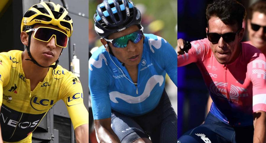 Egan Bernal, Nairo Quintana y Rigoberto Urán