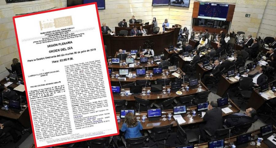 Congreso, orden del día de la Cámara de Representantes