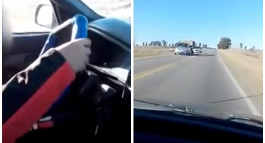 Niño conduciendo por Argentina.