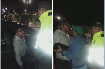 Concejal agrediendo a Policía