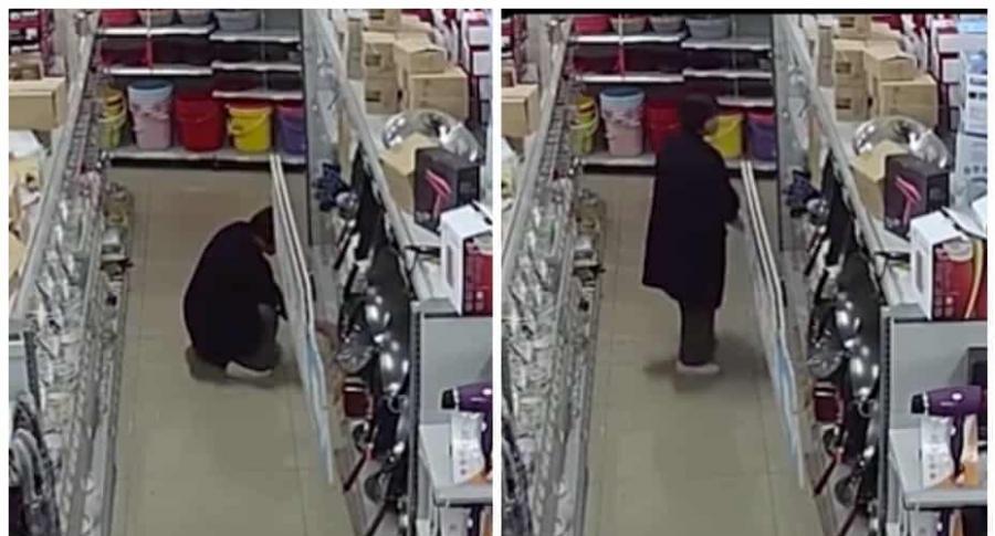 Mujer roba cuchillos.