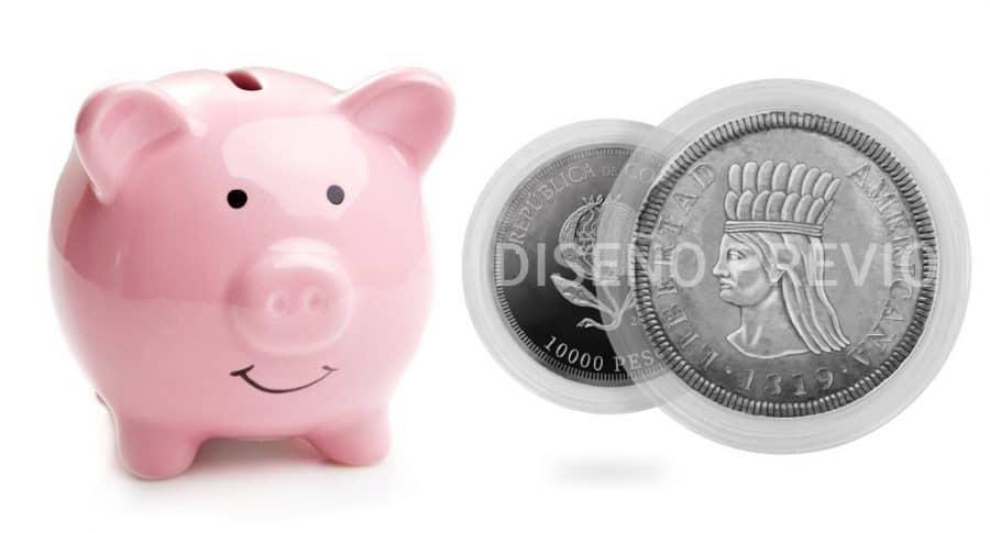 Alcancía-Diseño de moneda de 10.000 pesos
