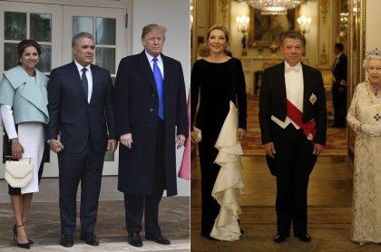 Iván Duque, presidente de Colombia, con su esposa, María Juliana Ruiz, y su homólogo estadounidense, Donald Trump. Y Juan Manuel Santos, expresidente, junto a su esposa, María Clemencia Rodríguez ('Tutina'), y la Reina Isabel de Inglaterra.