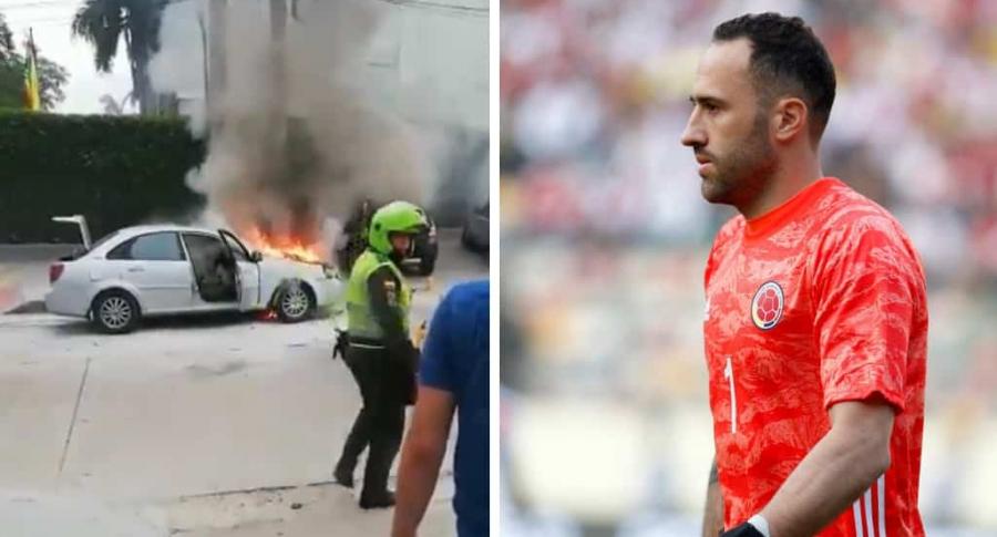 Carro incendiado y David Ospina