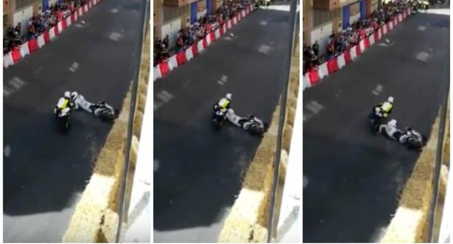 Accidente en entrenamiento de motociclistas.