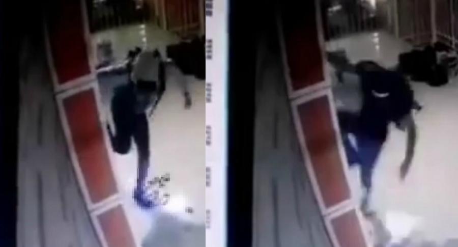 Dos de los ladrones escapando