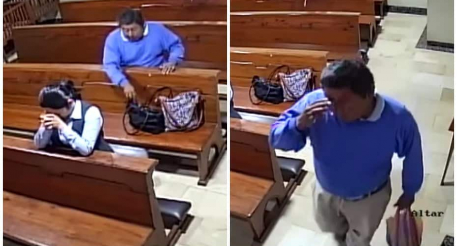 Hombre roba en una iglesia.