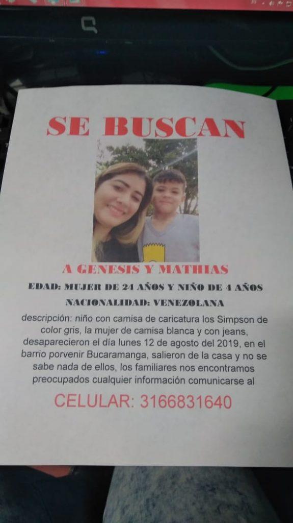 Pafleto con el que buscan a la venezolana y a su hijo en Bucaramanga
