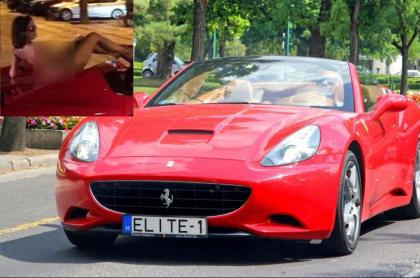 Mujer desnuda sobre Ferrari.