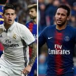 James Rodríguez y Neymar