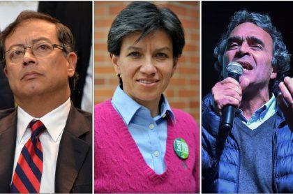 Gustavo Petro, Claudia López y Sergio Fajardo