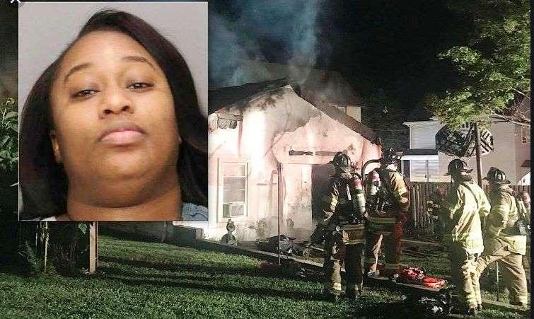 Taija Russell y casa quemada