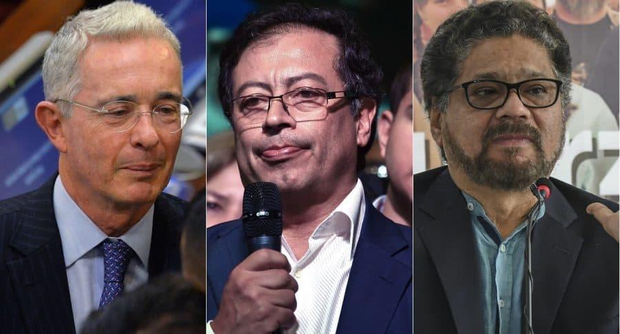 Álvaro Uribe, expresidente y senador; Gustavo Petro, exalcalde y senador; e 'Iván Márquez', guerrillero de las Farc.