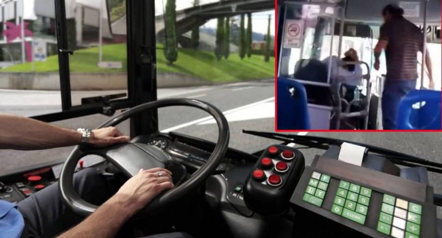 Pasajero golpea a conductor de bus.