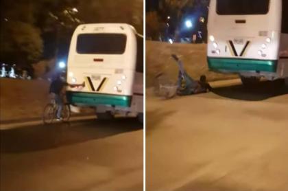 Ciclista se cae.