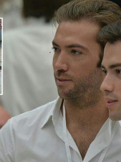 Esteban y Martín Santos, hijos del expresidente Juan Manuel Santos, y la mujer de los insultos.
