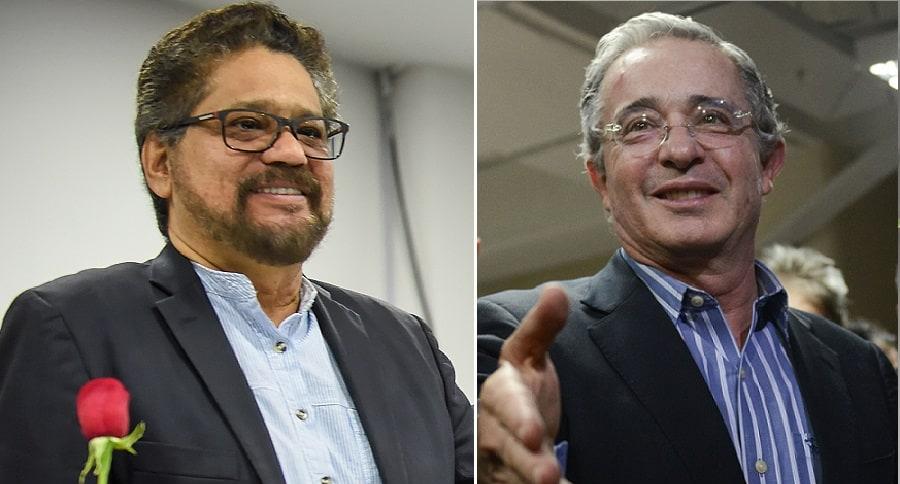 'Iván Márquez', guerrillero, y Álvaro Uribe, senador y expresidente.
