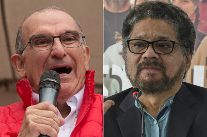 Iván Duque, presidente de Colombia; Humberto de la Calle, exnegociador de paz; e 'Iván Márquez', guerrillero.