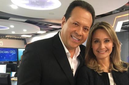 Javier Fernández, 'el Cantante del gol', e Inés María Zabaraín, presentadora.