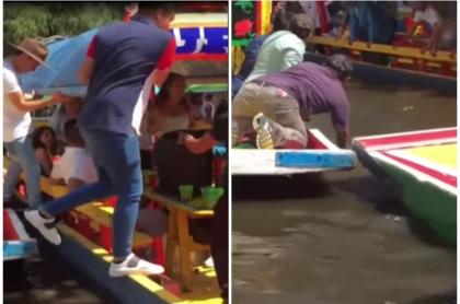 Hombre cae de un bote.