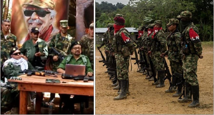 Fotomontaje: alias 'Iván Márquez' y compañía, y guerrilleros del Eln