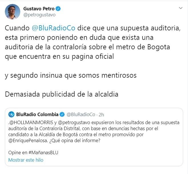 Trino de Blu Radio que disgustó a Petro