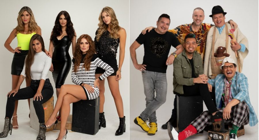 Las presentadora Laura Tobón, Jessica Cediel, Sara Uribe y Catalina Uribe, con la cantante Greeicy Rendón. Y los humoristas 'Boyacomán', 'Jeringa', 'Lokillo', 'Don Jediondo' y 'Suso'.