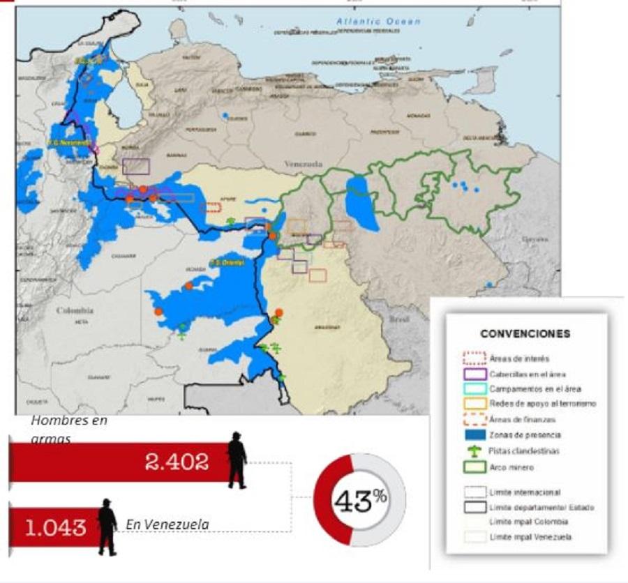 Mapa de presencia de Eln en Venezuela