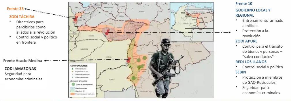 Mapa de presencia de disidencias en Venezuela